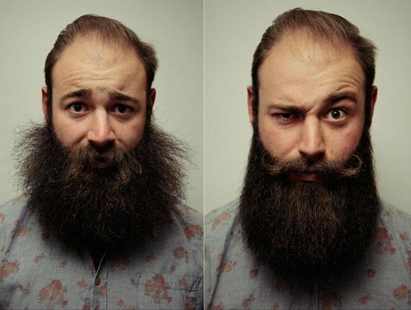 Mężczyzna używający balsamu do brody